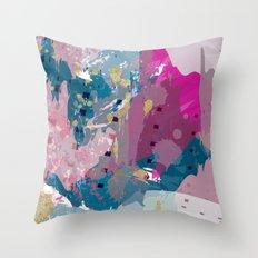 8: a bright abstract in blues pinks and golds Throw Pillow