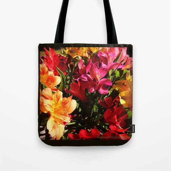 Summer Rainbow of Flower Blossoms Tote Bag