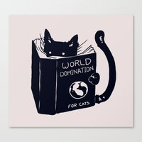 spirit Canvas Prints featuring World Domination For Cats by Tobe Fonseca