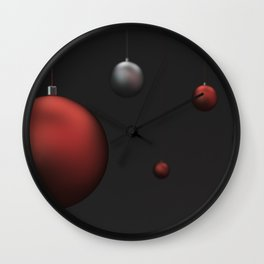 Set of red and silver christmas balls Wall Clock