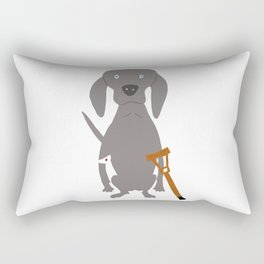 Wounded Weim Grey Ghost Weimaraner Dog Hand-painted Pet Drawing Rectangular Pillow
