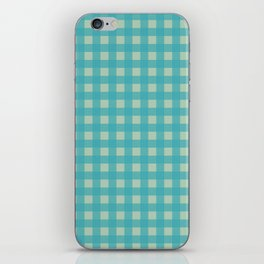 Buffalo Check Plaid in Turquoise and Sage Green iPhone Skin