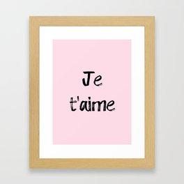 Je t'aime Pink Framed Art Print
