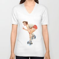 pinup V-neck T-shirts featuring Pinup by Morgan Soto