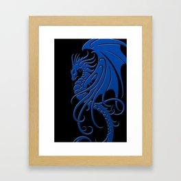 Flying Blue and Black Tribal Dragon Framed Art Print