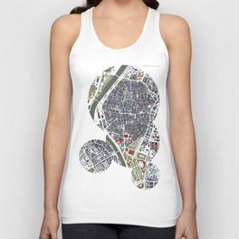 Seville city map engraving Unisex Tank Top