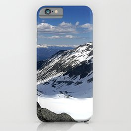 Mountains dappled with snow and rock iPhone Case