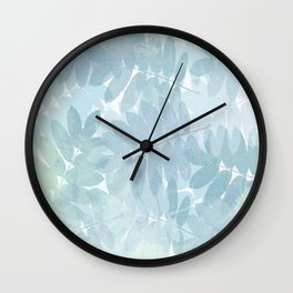 Vintage Blue Leaf Abstract Wall Clock