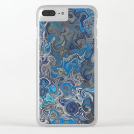 Blue and silver marbled pattern Clear iPhone Case