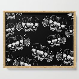 GEMINI - white on black - twins  - conjoined skull zodiac series doodle Serving Tray