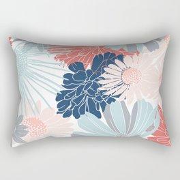 Festive, Floral Prints, Coral, Aqua, Gray, Navy Blue Rectangular Pillow