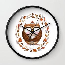 Fall Ready Owl- Illustration Wall Clock