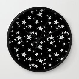 Linocut black and white stars outer space astronauts minimal Wall Clock