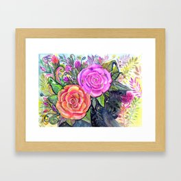 painting roses makes me EUPHORIC! Framed Art Print