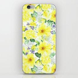 watercolor pattern yellow roses iPhone Skin