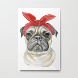Pug with a Red Bandana Watercolor Metal Print