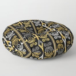 Yellow and black , ornament Floor Pillow