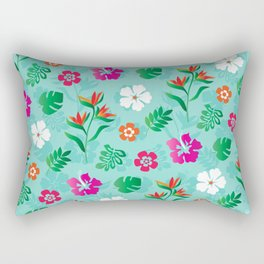 Colorful tropical flowers Hibiscus and Birds of Paradise Rectangular Pillow