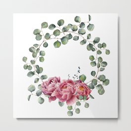 Watercolor Eucalyptus Wreath Metal Print
