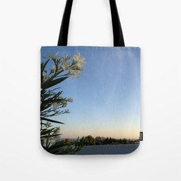 White Flower & Skyline Tote Bag