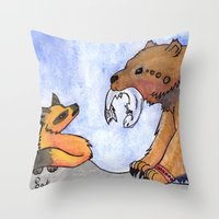 gift card Throw Pillows featuring Gift by Sparki Wolf