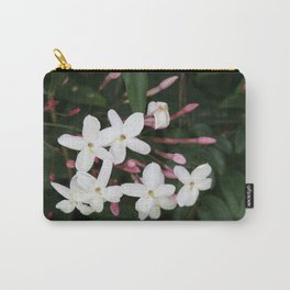 Delicate White Jasmine Blossom with Green Background Carry-All Pouch