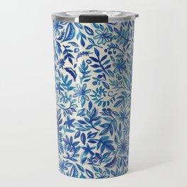 Floating Garden - a watercolor pattern in blue Travel Mug