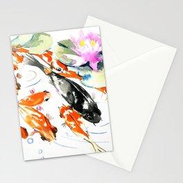 Nine Koi Fish, 9 KOI, feng shui artwork asian watercolor ink painting Stationery Cards