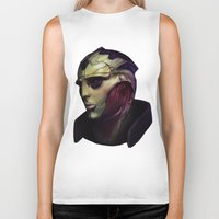 mass effect Biker Tanks featuring Mass Effect: Thane Krios by Ruthie Hammerschlag