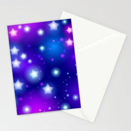 Milky Way Abstract pattern with neon stars on blue background Stationery Cards