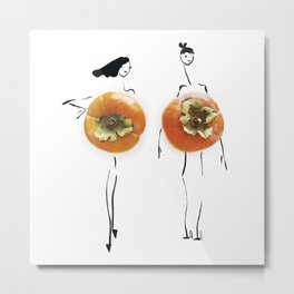 Edible Ensembles: Orange Persimmon Metal Print