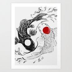 Koi fish ying yang Art Print