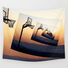 Basketball Hoop Silhouette Wall Tapestry
