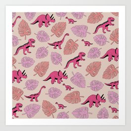 Dinosaur jungle illustration pattern hot pink girls Art Print