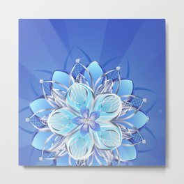 Abstract silver flower Metal Print