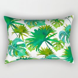 Abstract hand painted forest green watercolor tropical leaves Rectangular Pillow