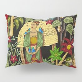 Frida's Garden, Casa Azul Lush Greenery Frida Kahlo Landscape Painting Pillow Sham
