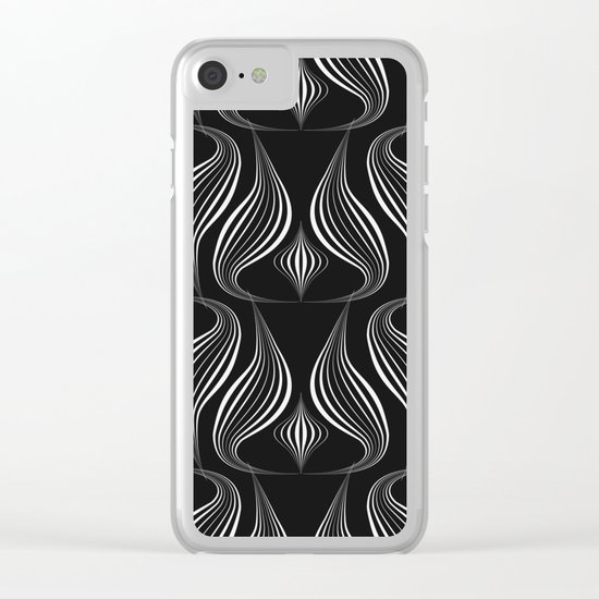 """Art Deco . Black and white pattern ."""" Waterfall """". Clear iPhone Case"""