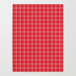 Rose madder - red color - White Lines Grid Pattern Poster