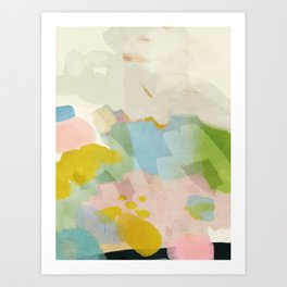 pastel fields abstract landscape Art Print