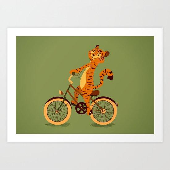 Tiger on the bike Art Print