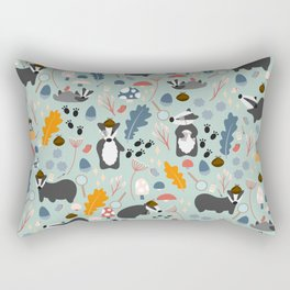 A Cete of Badgers   Green Rectangular Pillow