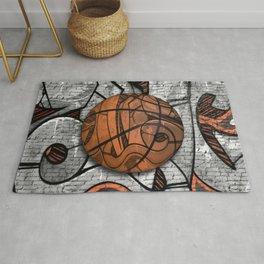 Black Basketball Graffiti on Brick Wall Rug