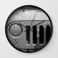 jeep Wall Clocks featuring Jeep Smiles by Bwoodstockfoto