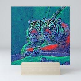 AnimalBlue_Tiger_001_by_JAMColors Mini Art Print