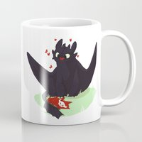 toothless Mugs featuring Toothless by Flora