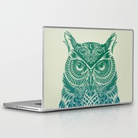 fire Laptop & iPad Skins featuring Warrior Owl by Rachel Caldwell
