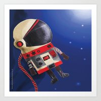 spaceman Art Prints featuring Spaceman by Sally Darby Illustration