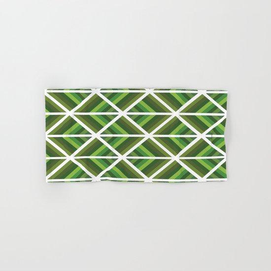 Green Stripe Triangles Hand & Bath Towel
