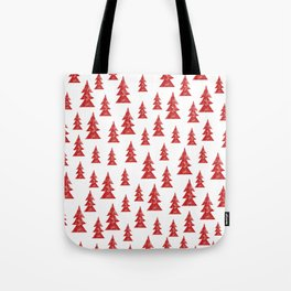Red Grunge Christmas Tree Pattern + New Year's Resolution Grow Chart Tote Bag